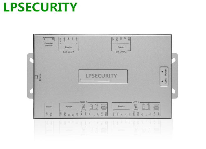 LPSECURITY WG26 RJ45  Ethernet TCP/IP Network Access Control Board Panel Door Controller card For 2 Doors 4 Readers IC102 sdk two doors two ways input output ports 30000 user tcp ip network zk c3 200 door access control board