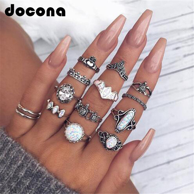 Docona Vintage Opal Tartaruga Forma di Corona Knuckle Midi Anelli per le Donne D
