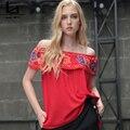 Hui Lin Moda Verão Das Mulheres Fora Do Ombro Tops de Algodão Bordados Ruffles Casual Solto Parte Superior Das Senhoras