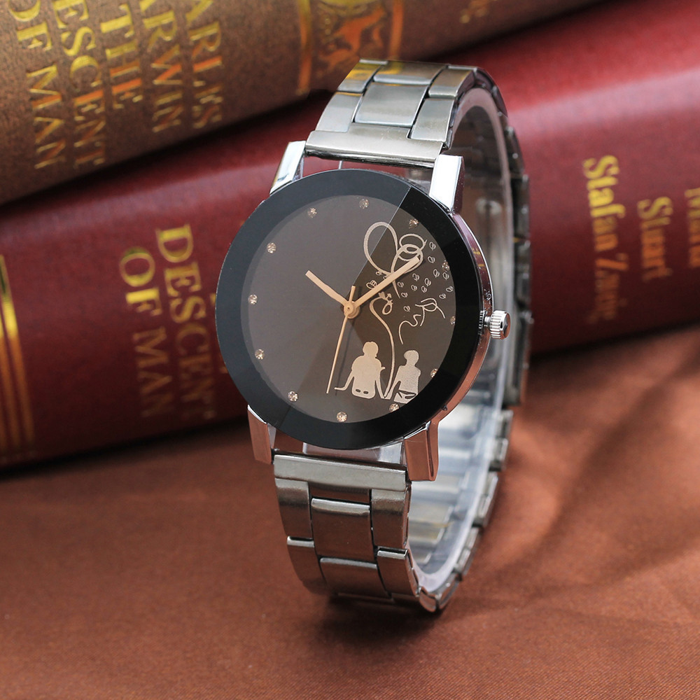 1 Pair Lovers Student Stylish Spire Glass Steel Belt Quartz Womens Watches Fashion Watch 2019 Couple Watches