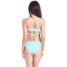 Push-Up Bikinis Sexy Blue Black Bandage Design Halter Bikini Swimsuit High Waist Women's Swimwear Swimming Trunks