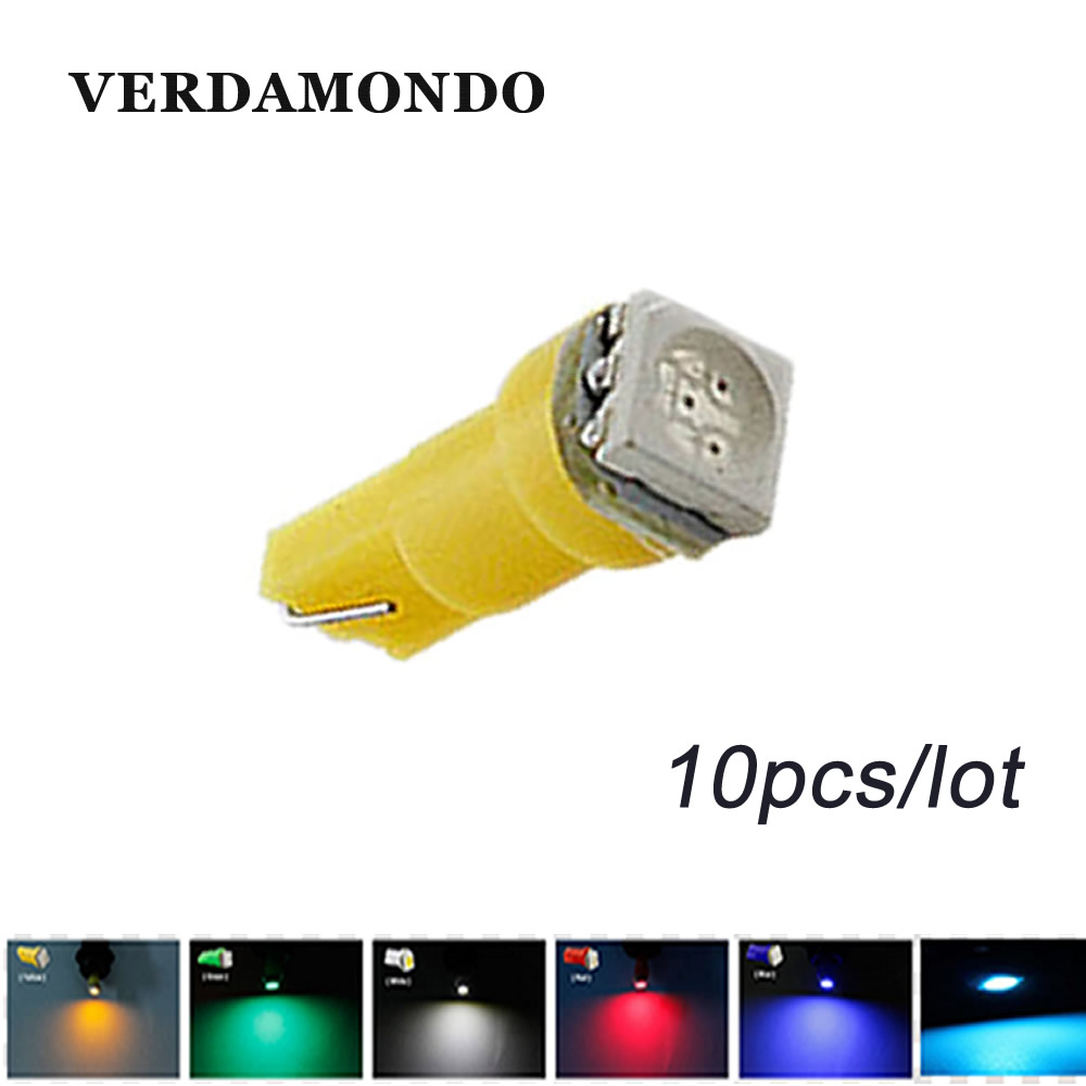10pcs T5 5050 1SMD Wedge Car LED Bulb Lamp Interior Dashboard Gauge Light Lamps White Blue Green Ice Blue Red Yellow стоимость