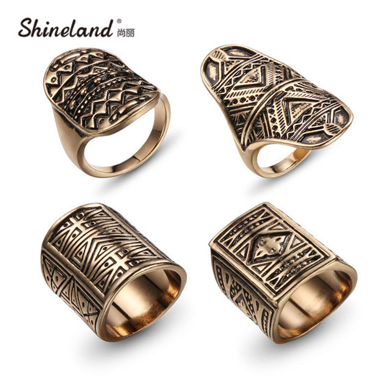 Buy New Bohemian Brand Design Vintage Ring Set Antique Gold Silver Plated
