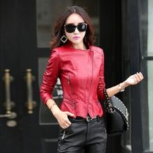 Размера плюс кожаная куртка M-5XL, модная женская одежда,, черная Осенняя зимняя короткая теплая байкерская куртка GQ1252