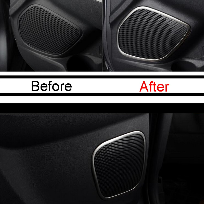 4 pcs car diy new stainless steel the door speaker light box cover case stickers for mitsubishi. Black Bedroom Furniture Sets. Home Design Ideas