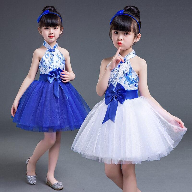 Girl Jazz Dance Latin Dance Blue And White Porcelain Costumes Children's  Performance Fluffy Skirt Girls Chorus Dance Dress