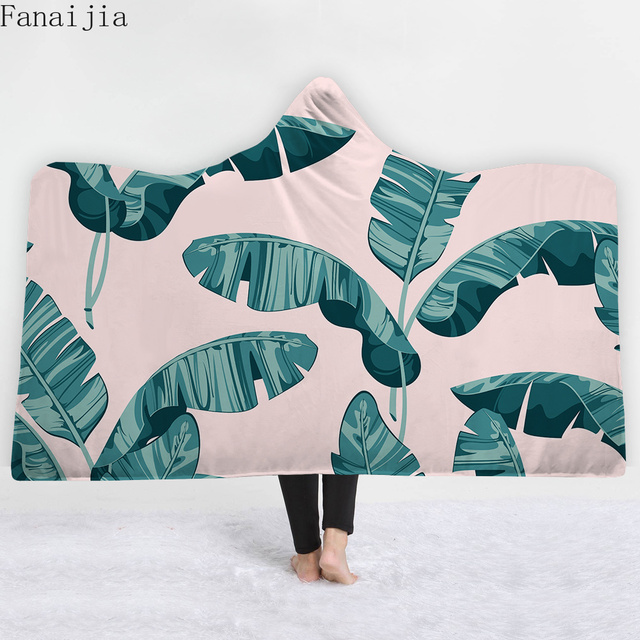 Fanaijia 3d plant Hooded Blanket Throw Blanket Sherpa Fleece Cartoon Wearable Blanket With Hat blankets and throws