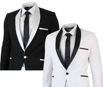 Black/White Jacket Pants Men 2 Pieces Shawl Lapel Slim Fit Casual Tuxedo Groom Suits Set Wedding Dress Business Prom Party Suits