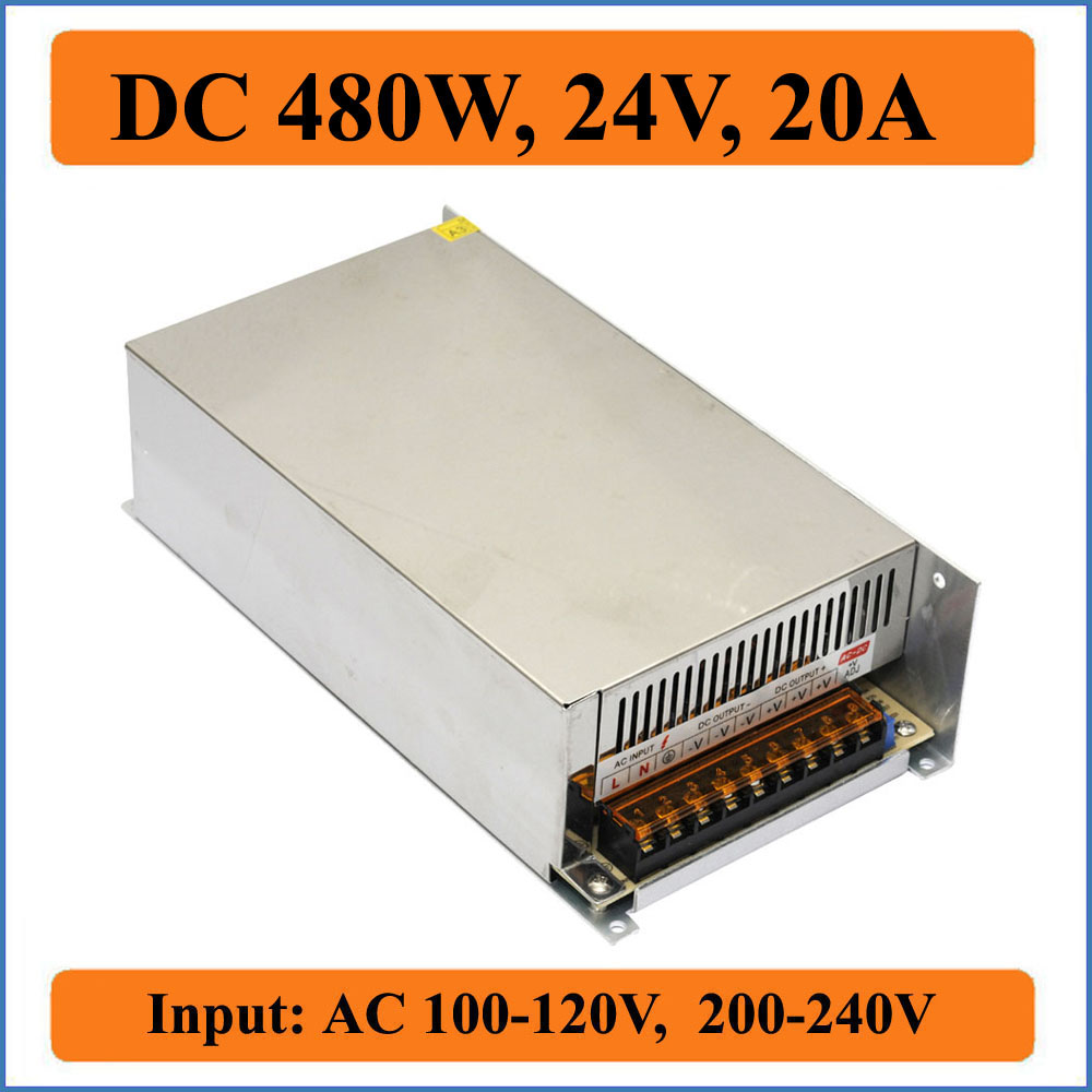 480W 24V 20A Switching Power Supply for LED Strip lights AC to DC SMPS unit for leds Driver, AC100~240V input to DC 24V output best quality 12v 15a 180w switching power supply driver for led strip ac 100 240v input to dc 12v