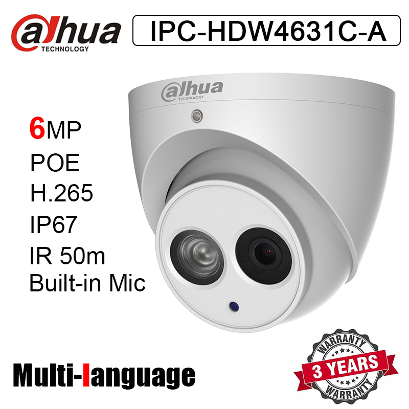 Original IPC HDW4631C A 6MP Dome Network Camera POE H.265 IR 50m Built in Mic Metal Casing Replace IPC HDW4433C A-in Surveillance Cameras from Security & Protection