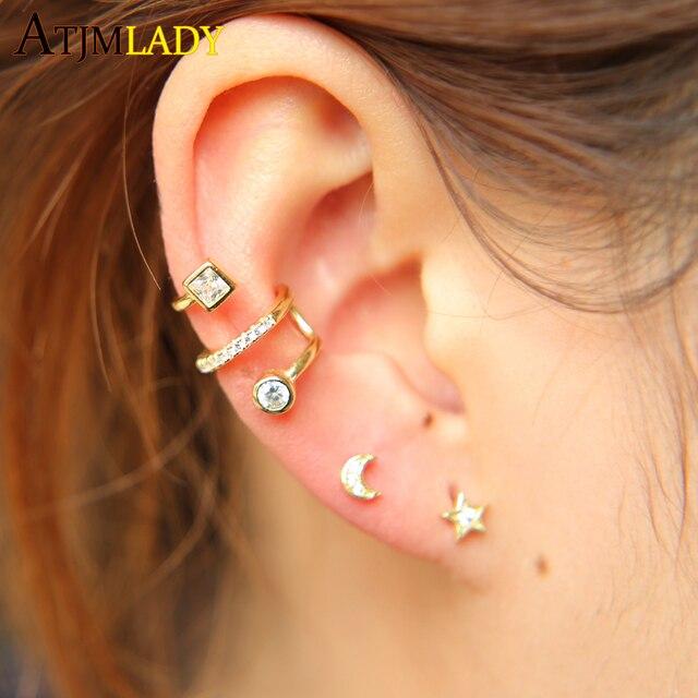 d60379868 2018 New Earrings Brincos Brinco 100% 925 Sterling Cz Shape Earring Stud  For Women Delicate Dainty Minimalist Simple Cute Colo