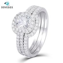 DovEggs Center 1ct Carat 6mm Cushion Cut F Color Moissnaite 14K White Gold Bridal Engagement Ring Set for Women Wedding Gift