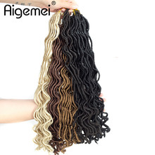 Aigemei Faux Locs Curly Crochet Hair 18 Inch 100g 24 Roots Synthetic Black Brown Blonde Winered Braid Extensions