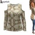Camiseta Del Hombro Tops Para Mujer de Moda Estampado de Serpiente piel Camiseta de Manga Larga Crop Top Sexy Tees camisetas mujer de Halloween