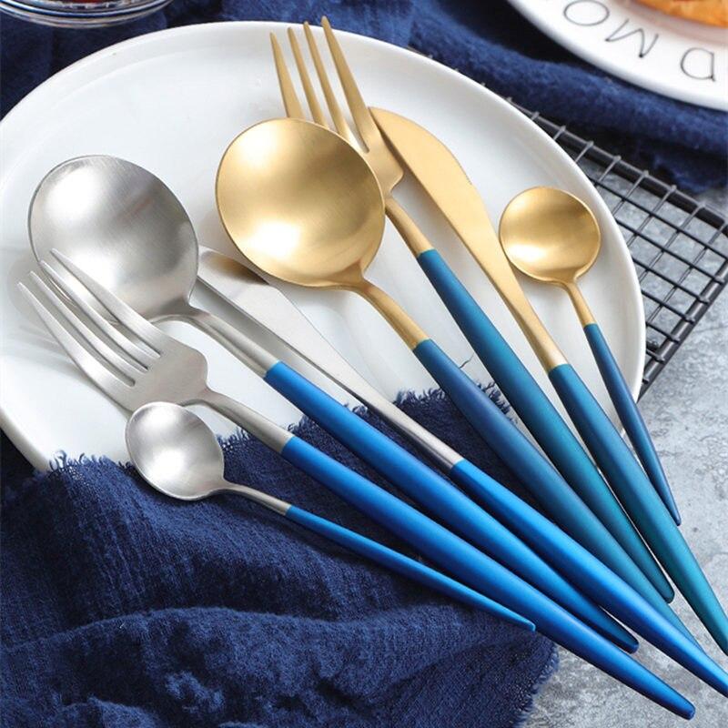 KuBac 24pcs Double Color Golden Silver Dinnerware Set Stainless Steel Dinner Knife Fork Blue Teaspoon Cutlery