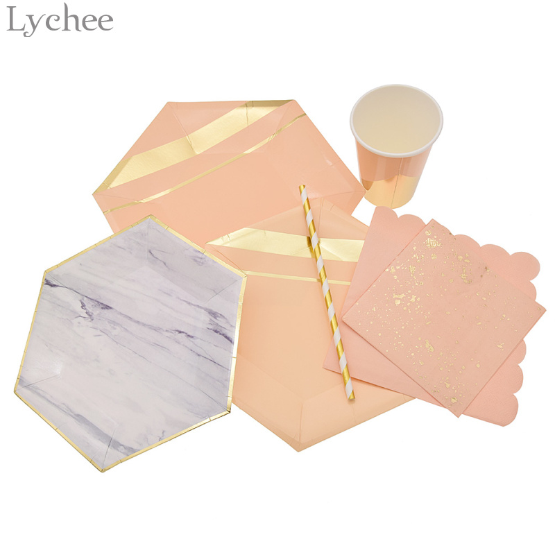lychee gold foil star disposable party tableware paper plate cup napkin drinking straw baby. Black Bedroom Furniture Sets. Home Design Ideas