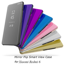 Mirror Flip Case For Xiaomi Redmi 6 Luxury Clear View PU Leather Cover Smart for Redmi6
