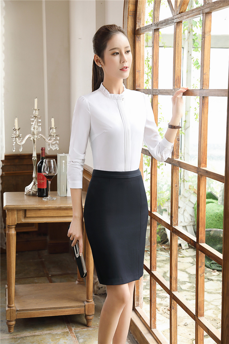 b3898cf598 Novelty White Long Sleeve Formal Skirt Suits Professional Tops And Skirt  Ladies Business Women Blouses Skirts Outfits Plus Size
