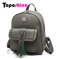 Toposhine 2017 Retro Panelled Women Backpacks Fashion PU Leather Lady Backpacks Girls Backpacks Popular Cute School