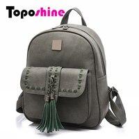 Toposhine 2017 Retro Panelled Women Backpacks Fashion PU Leather Lady Backpacks Girls Backpacks Popular Cute School Bags 1741