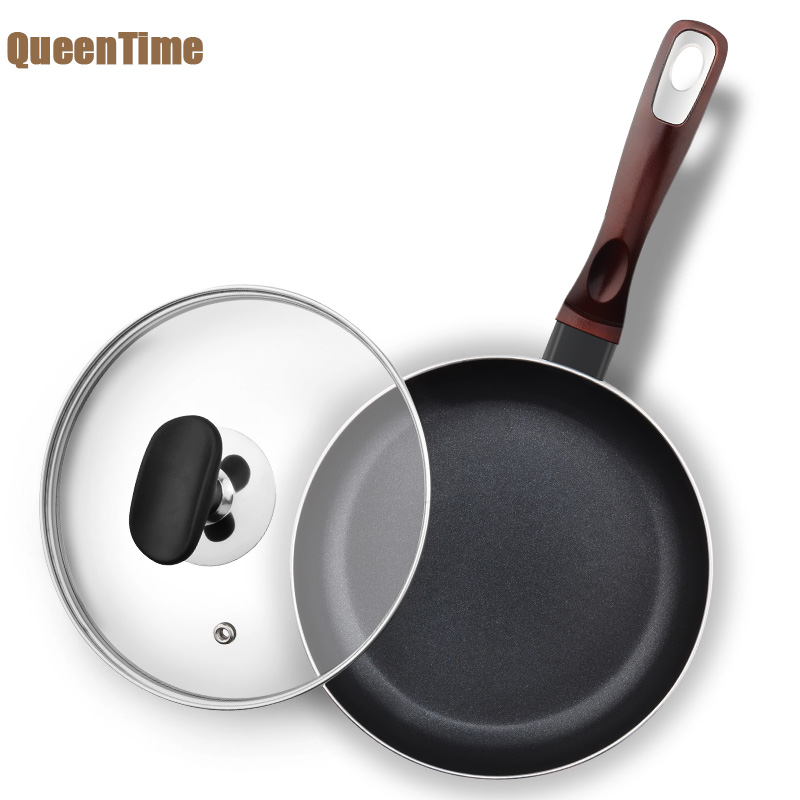 QueenTime 18cm 7 inch Small Frying Pan Skillet Fried Eggs Steak Pot Non-stick Non-fog Griddle Grill Pan For Gas Induction Cooker