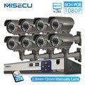 MISECU 2MP CCTV камера системы 8CH POE NVR 1080 P 2,8-12 мм ручные линзы 3000TVL POE IP камера Водонепроницаемые комплекты видеонаблюдения