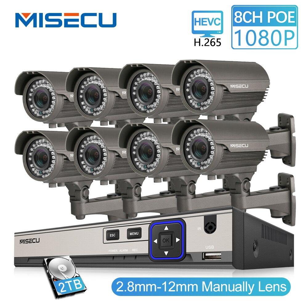 MISECU 2MP CCTV Caméra Système 8CH POE NVR 1080 p 2.8-12mm manuel Lentille 3000TVL POE IP Caméra kits De Surveillance de Sécurité imperméable à l'eau