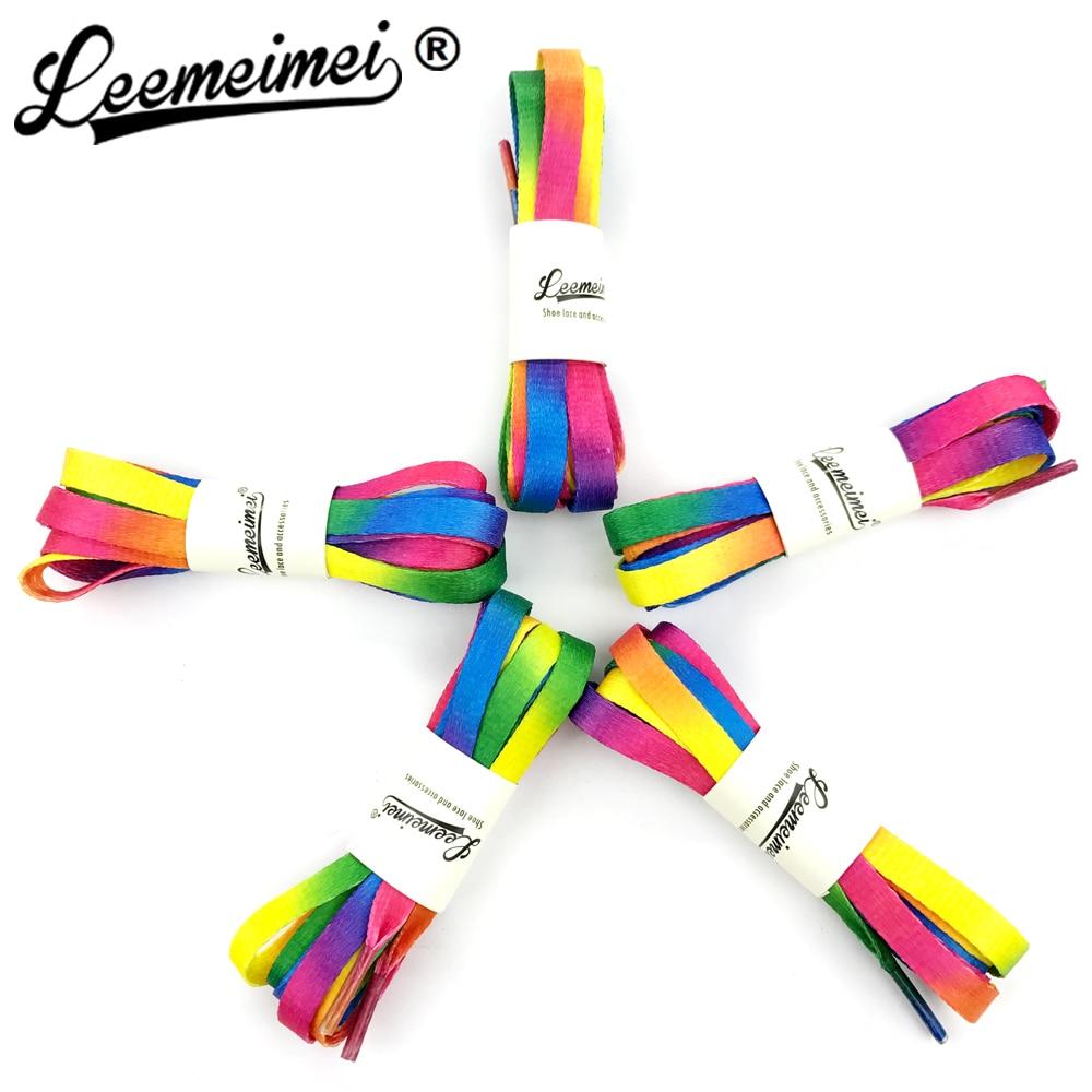 3 PAIRS/Lot 80cm 100cm 110cm Unisex Rainbow Flat Sports Shoe Laces Shoelaces Nylon Strings Strap for Sneakers rainbow shoelace