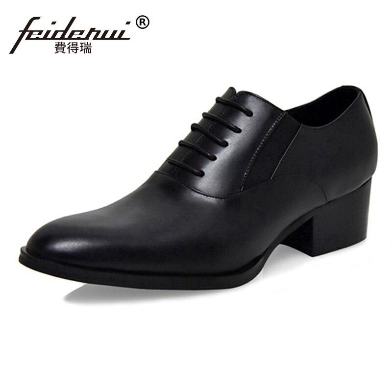 купить 2018 British Designer Genuine Leather Man Formal Dress High Heels Oxfords Pointed Toe Men's Handmade Wedding Party Shoes SS98 недорого