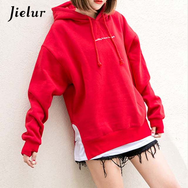Fake Two Pieces Patchwork Letter Embroidery Sweatshirt For Women