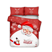 Santa Claus Gift 3D bedding three-piece set of children's home textile deer head grinding maute large customizable no bed linen