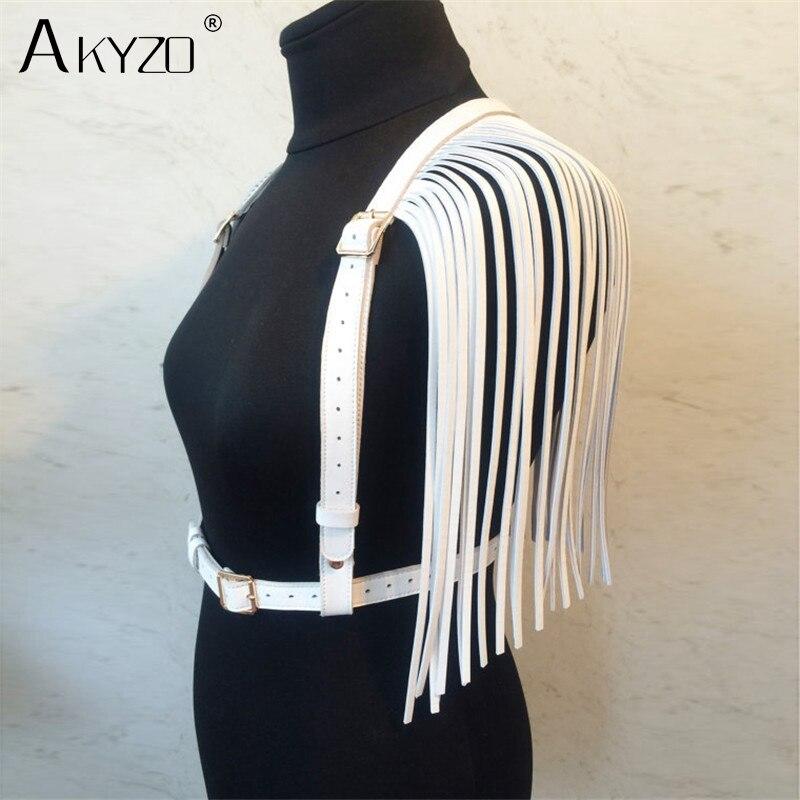 AKYZO Women PU Leather Crop   Top   Fashion Adjustable Waist Harness Bondage Belt Tassel Costume Party Stage Performance   Tank     Top