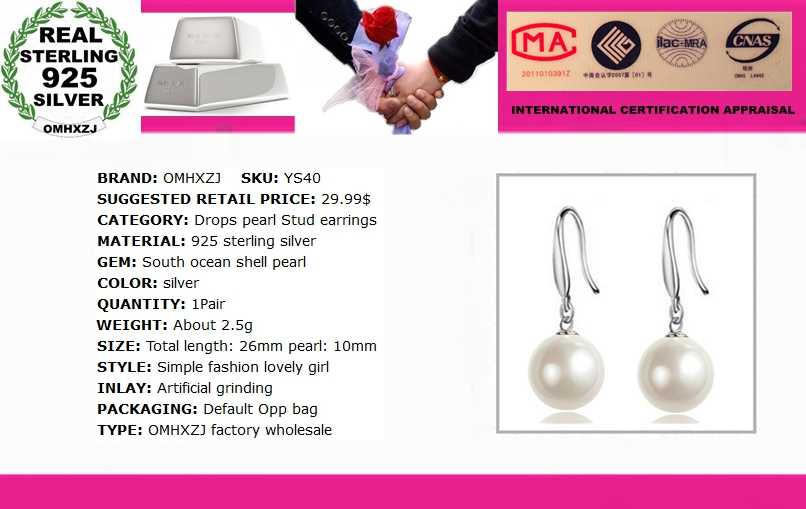 OMH Fashion Grosir Perhiasan Mencegah Alergi Nanyang Pearl 925 Sterling Silver Anting-Anting Anting-Anting YS40