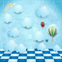 Vinyl Children blue clouds hotair floor Photography Backdrops Baby Photo Background for Photo Studio(China)