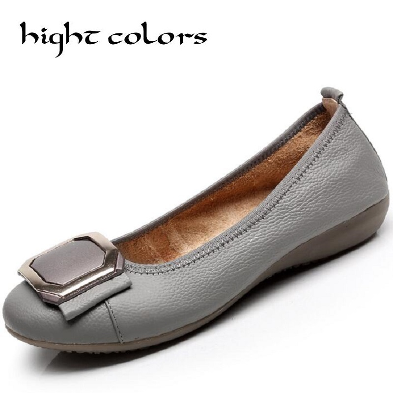 Plus Size 34~43 Fashion Shoes 2018 Loafers Women Genuine Leather Flat Shoes Woman Casual Shoes Nurse Work Shoes Women Flats de la chance 2018 new fashion women casual shoes adults colorful women s flats shoes woman breathable harajuku flat plus size