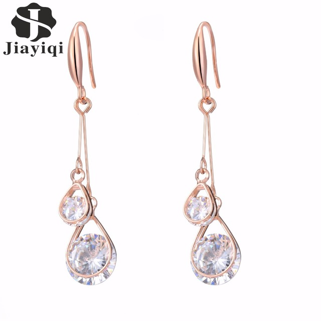 2017 New Korean Style Fine color Rose Gold Earring Women Fashion Jewelry Cubic Z