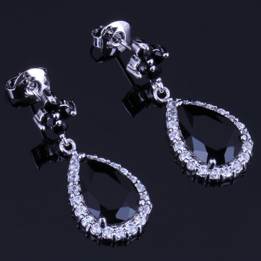 Fantastic Water Drop Black Cubic Zirconia White CZ 925 Sterling Silver Dangle Earrings For Women V0746