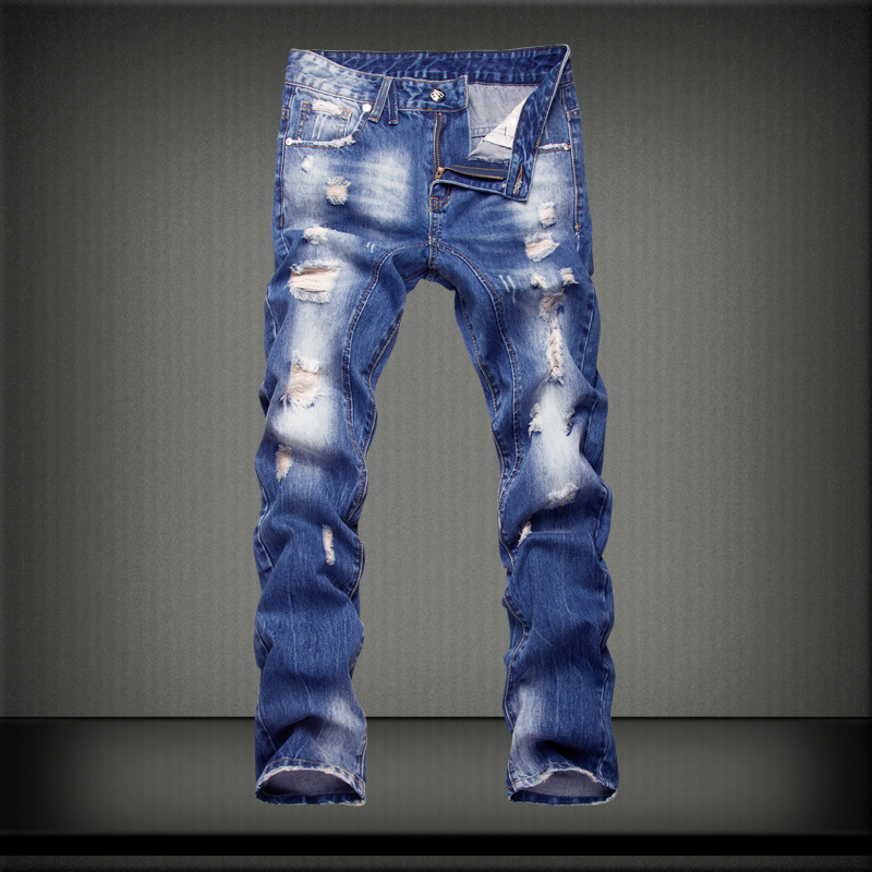 Top quality mens washed and bleached fashion trend distressed jeans trousers personality ripped broken hole denim