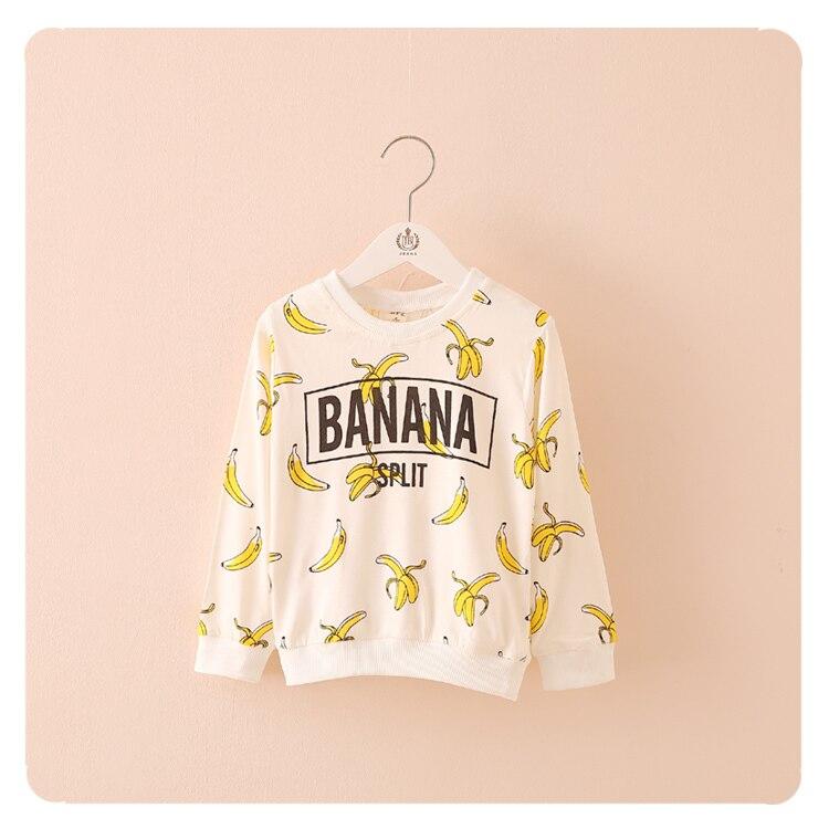 New 2018 Spring Autumn,baby girls boys t-shirt,Fashion long-sleeved shirts,Banana.T-shirt,Tops,Tees,girl boy t shirt.kids wear