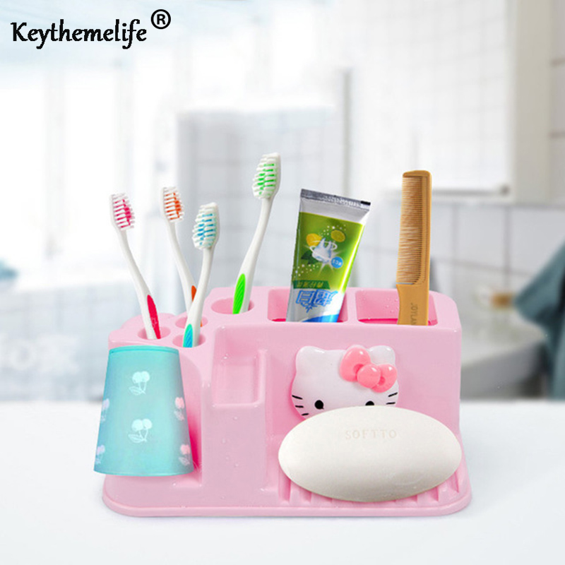 Keythemelife Hello Kitty Toothbrush Holder Pink Color Storage Box Rack Bathroom  Accessories For Girl Woman Kids
