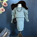 Princesa niñas ropa de invierno traje 2017 otoño Suéteres sólidos + faldas 2 unids ropa del bebé establece niños del chándal del traje