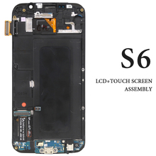 For Samsung Galaxy S6 LCD Screen With Frame AMOLED G920 G920A G920F G920I Display Assembly Phone Replacement Repair Spare Parts 5pcs free dhl original replacement for samsung s6 g9200 sm g920 g920f g920i g920x lcd display with touch screen digitizer