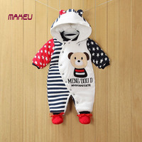2018 NEW Baby Rompers Winter Thick Warm Baby Boy Clothing Long Sleeve Hooded Jumpsuit Kids Newborn