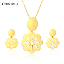 Cardy Koala Flower Pendant Necklace Earring Jewelry Set Stainless steel Silver / Gold / Rose Gold Jewelry Set for Women and Girl milky blue earring and pendant necklace flower shape pendant necklace jewerly set for women gift