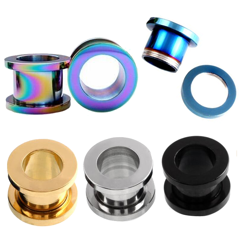 Unisex Cool Stainless Steel Hollow Screw Ear Plug Tunnels Expander Piercing USA