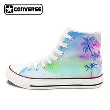 Ручная роспись обувь для мужчин и женщин Converse All Star дизайн кокосовой пальмы Красочные высокие холщовые кроссовки