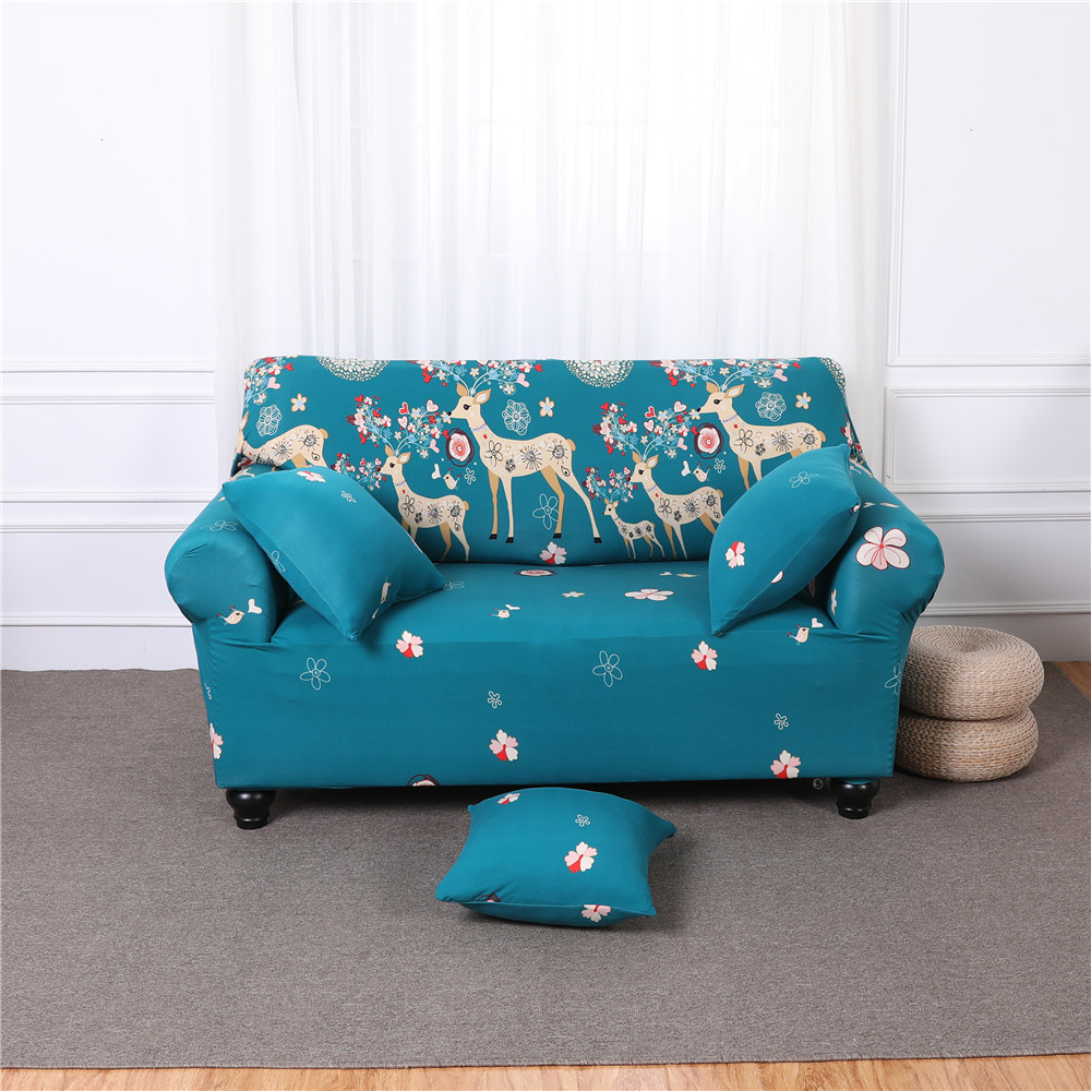 Sectional Sofa Cover All-inclusive CouchCase Tight Wrap Elastic Slipcover blue Cartoon Christmas Deer flower Printed 1/2/3/4seat