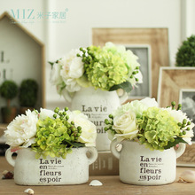 Miz Home 1 Piece White Clay Vintage Freshing Green Artificial Hydrangea Berries Vase Set for Desktop with Flower
