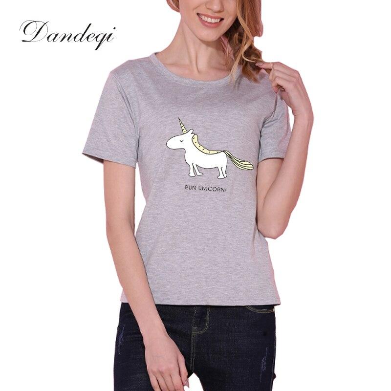Dandeqi Harajuku T-shirt Կանացի տիկնայք Tops Unicorn - Կանացի հագուստ