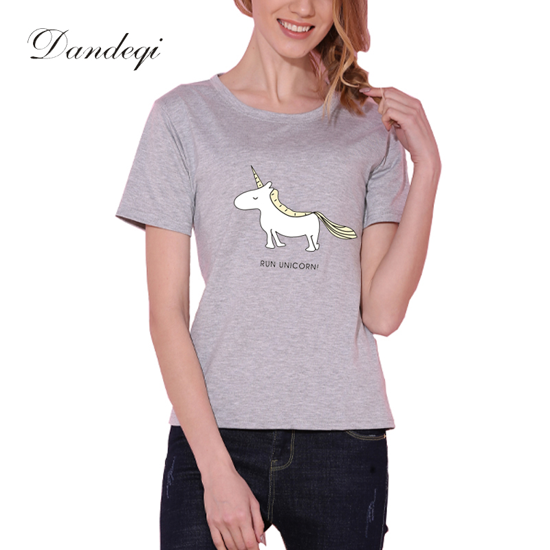 Tričko Dandeqi Harajuku Dámské topy Unicorn Print Casual 5 barev Legrační trička Bavlněné tričko Tričko Femme Loose